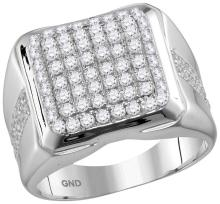10kt White Gold Mens Round Diamond Square Cluster Fashion Ring 2.00 Cttw