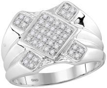 10kt White Gold Mens Round Diamond Diagonal Square Cluster Ring 1/3 Cttw