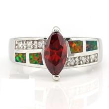 2 2/3 CARAT CREATED RED SAPPHIRE & 1 CARAT CREATED FIRE OPAL 925 STERLING SILVER RING