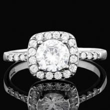 1 1/2 CARAT (27 PCS) FLAWLESS CREATED DIAMOND 925 STERLING SILVER HALO RING