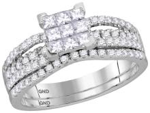 Womens 14K White Gold Princess Invisible Real Diamond Engagement Ring Set 1 CT