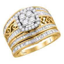 14K Yellow Gold Bridal Cushion Halo Diamond Engagement Wedding Ring Set 1 1/2 CT
