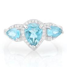 1 1/5 CARAT BABY SWISS BLUE TOPAZ & DIAMOND 925 STERLING SILVER RING