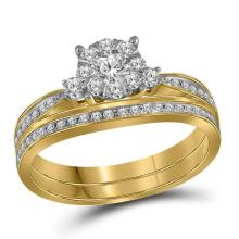 Bridal 14K Yellow Gold Princess Invisible Diamond Wedding Engagement Ring Set 5/8 CT