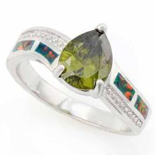 2 CARAT CREATED GREEN TOURMALINE & 1 CARAT CREATED FIRE OPAL 925 STERLING SILVER RING