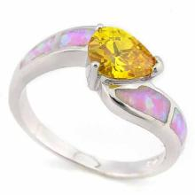 3 CARAT CREATED YELLOW SAPPHIRE & 1 CARAT CREATED FIRE OPAL 925 STERLING SILVER RING