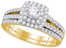 14k Yellow Gold Genuine Diamond Halo Bridal Wedding Engagement Ring Set 1 CT EGL Certified