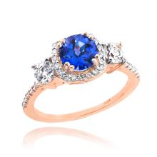 10K Rose Gold Sapphire Diamond Engagement Ring APPROX 1.81 CTW