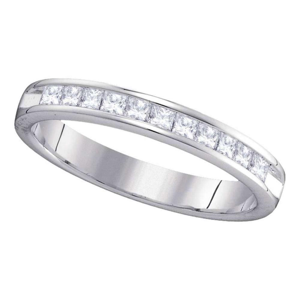 14kt White Gold Womens Princess Diamond Single Row Wedding Band 1/2 Cttw