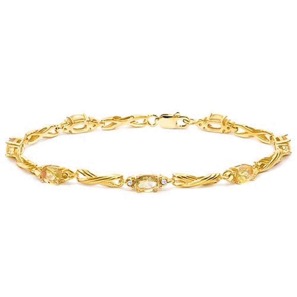 2.67 CTW CITRINE 925 STERLING SILVER YELLOW GOLD PLATED BRACELETT