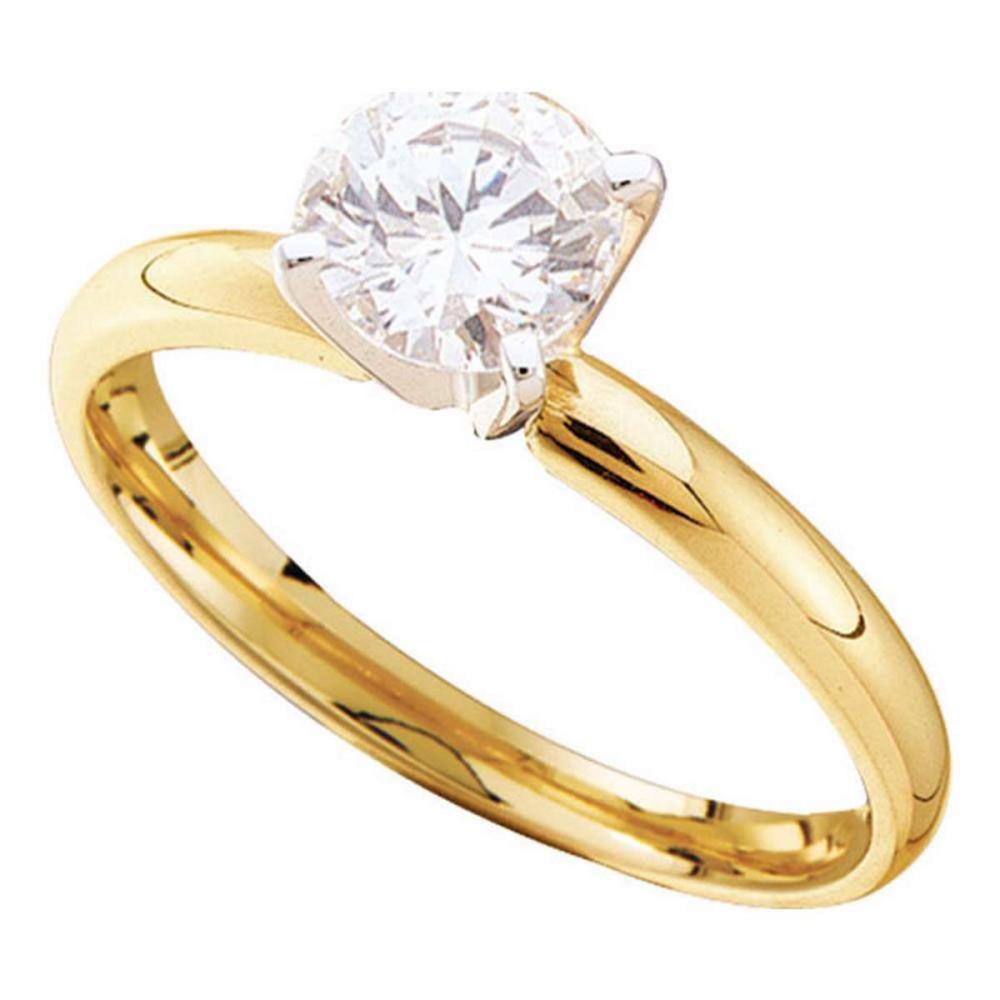 14k Yellow Gold Round Diamond Solitaire Bridal Wedding Engagement Ring 1.00 Ctw