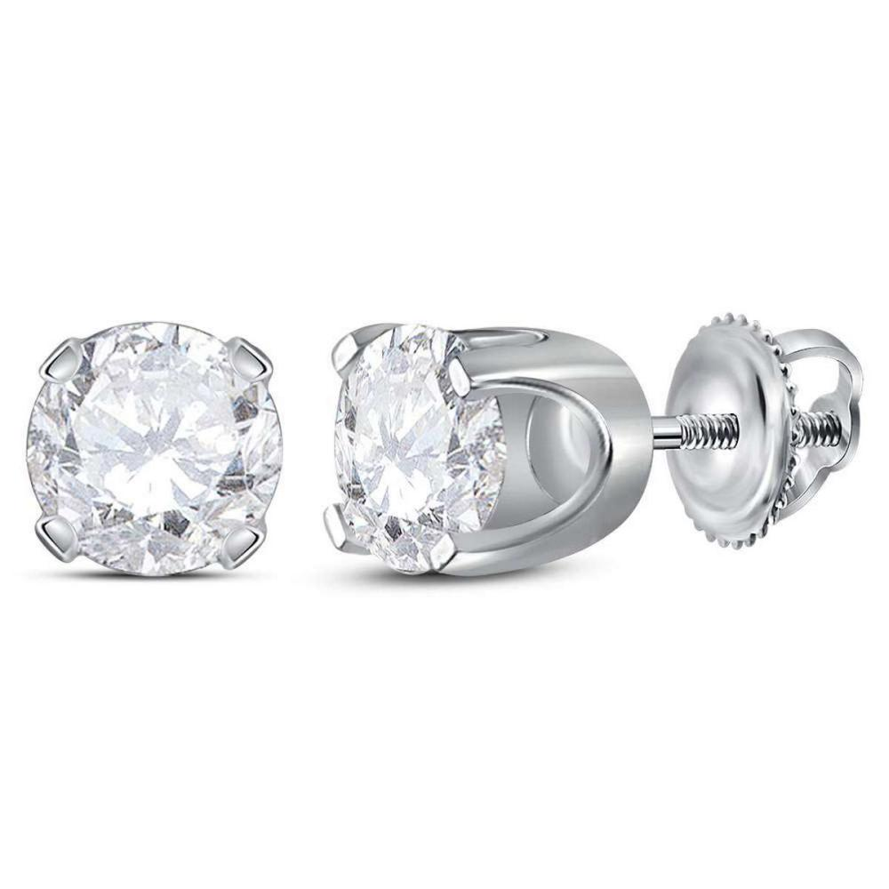 14kt White Gold Womens Round Diamond Solitaire Stud Earrings 1-3/8 Cttw
