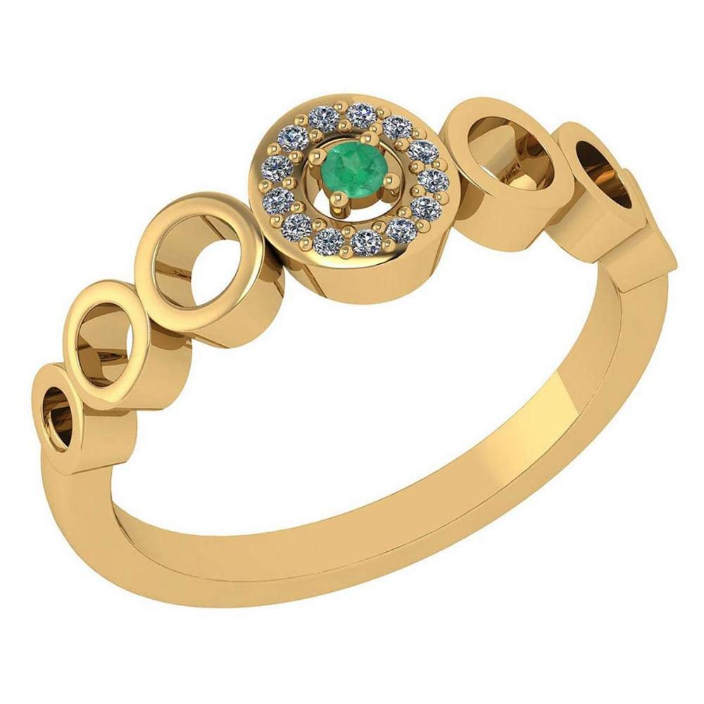 Certified 0.09 Ctw Emerald And Diamond 14k Yellow Gold Halo Ring G-H VS/SI1