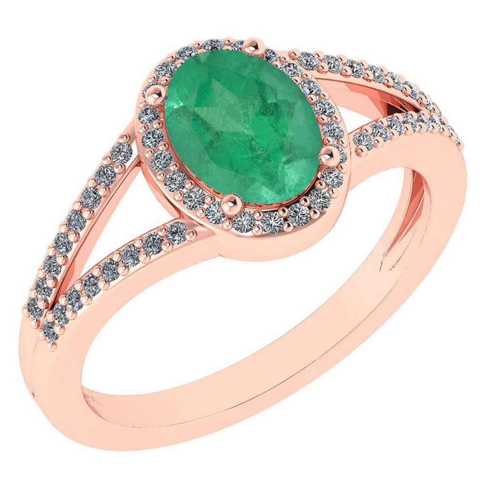 Certified 1.52 Ctw Emerald And Diamond 14k Rose Gold Halo Ring G-H VS/SI1