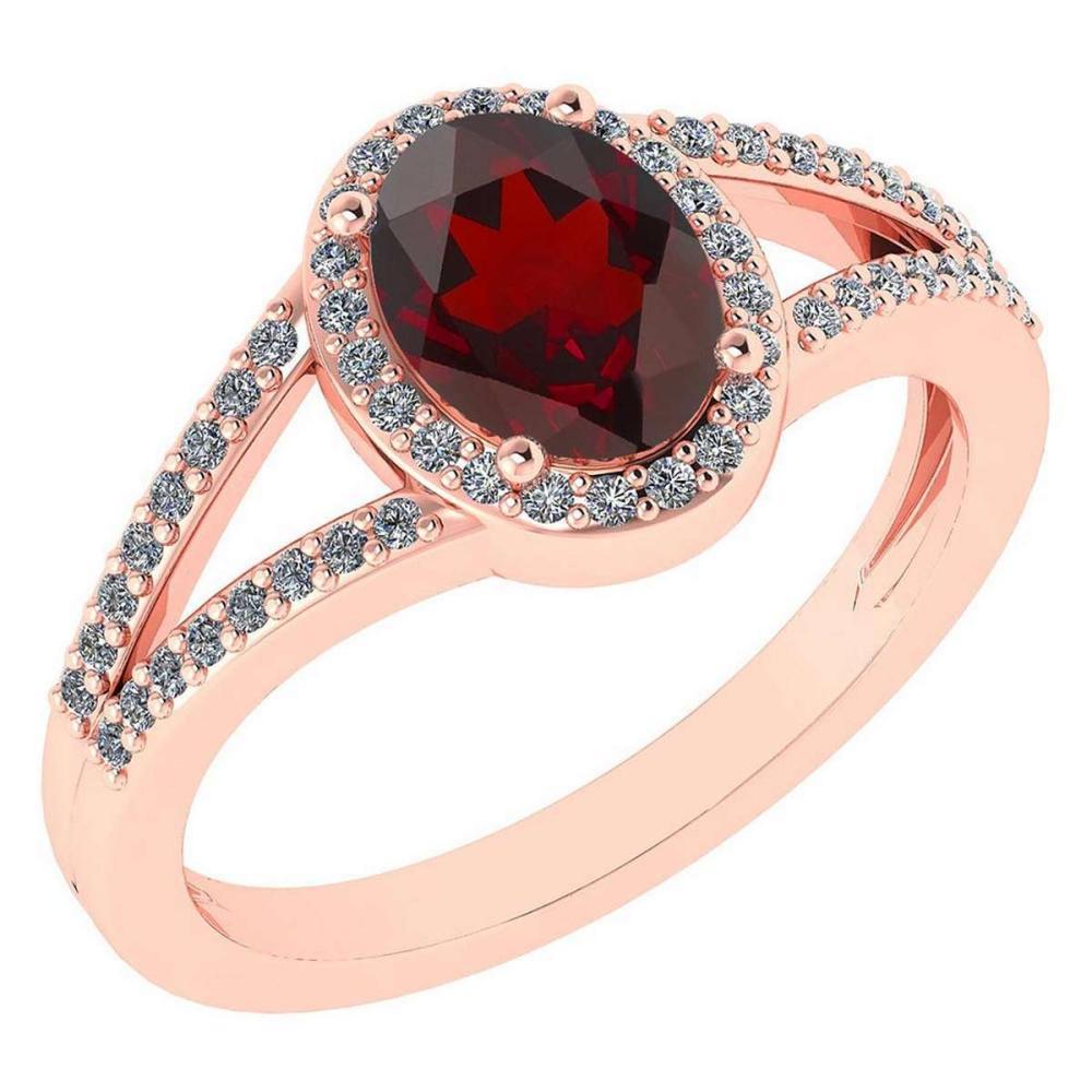 Certified 1.52 Ctw Garnet And Diamond 14k Rose Gold Halo Ring G-H VS/SI1