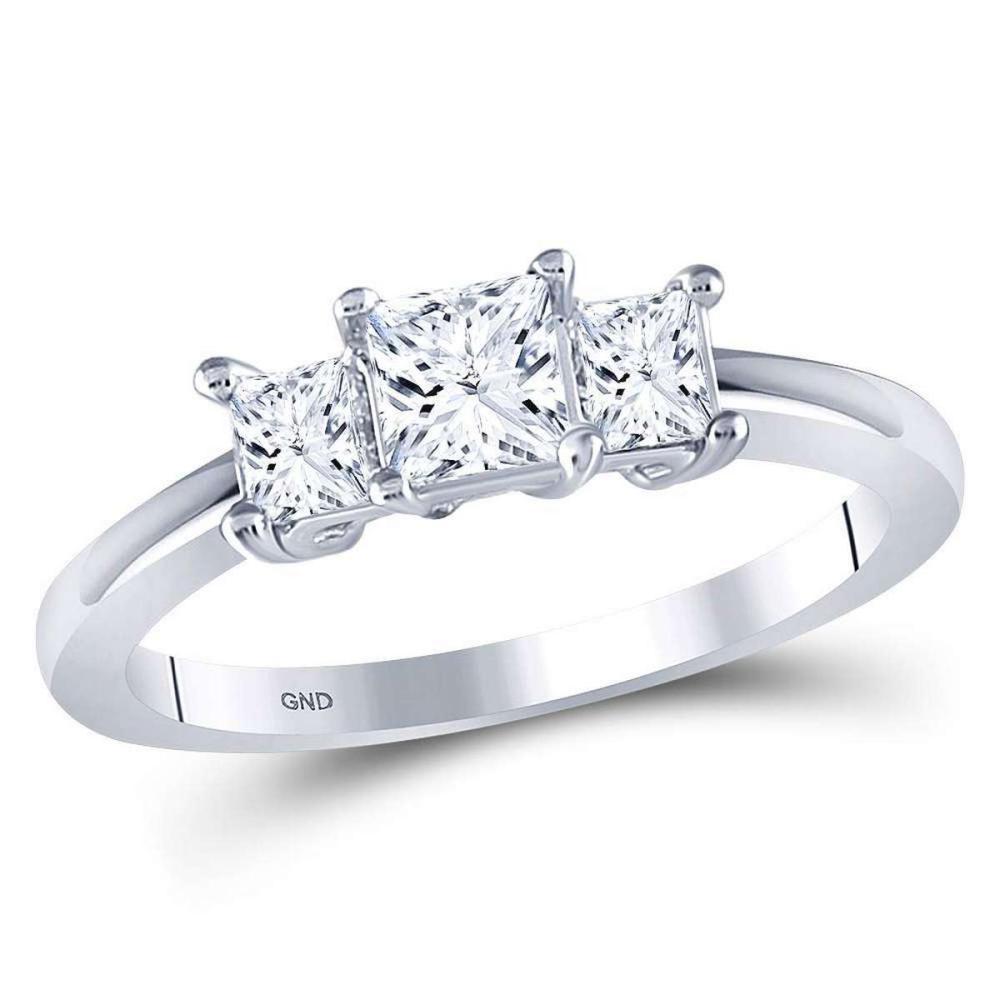 14kt White Gold Princess Diamond 3-stone Bridal Wedding Engagement Ring 1.00 Ctw