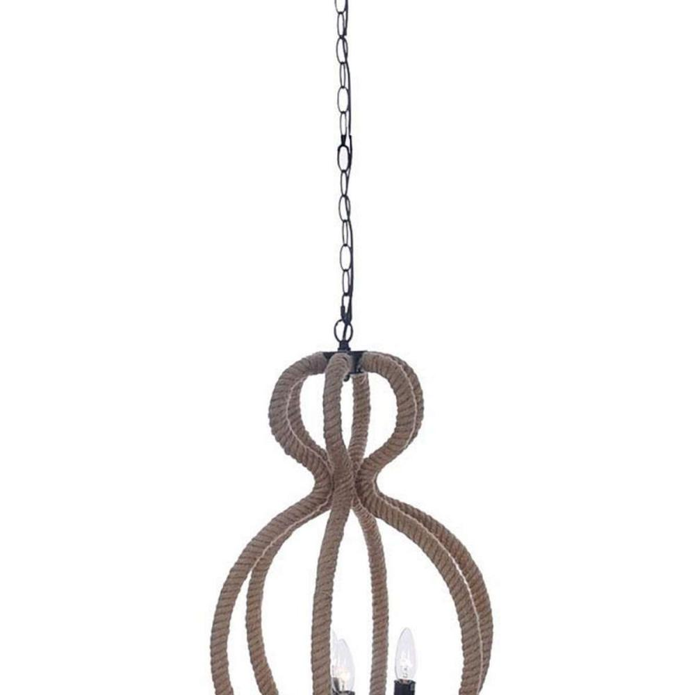 Rope Pendant Lamp - 4 Bulbs