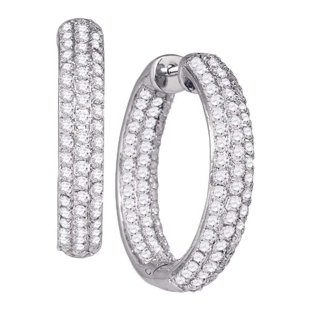 14k White Gold Womens Round Diamond Hoop Earrings 2-7/8 Cttw