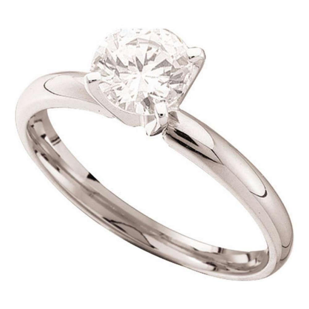 14k White Gold Round Diamond Solitaire Bridal Wedding Engagement Ring 1.00 Ctw