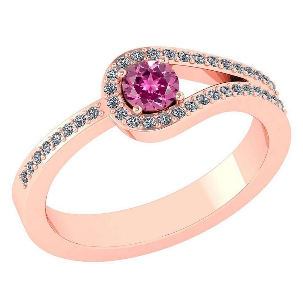 Certified 1.30 Ctw Pink Tourmaline And Diamond 14k Rose Gold Halo Ring VS/SI1