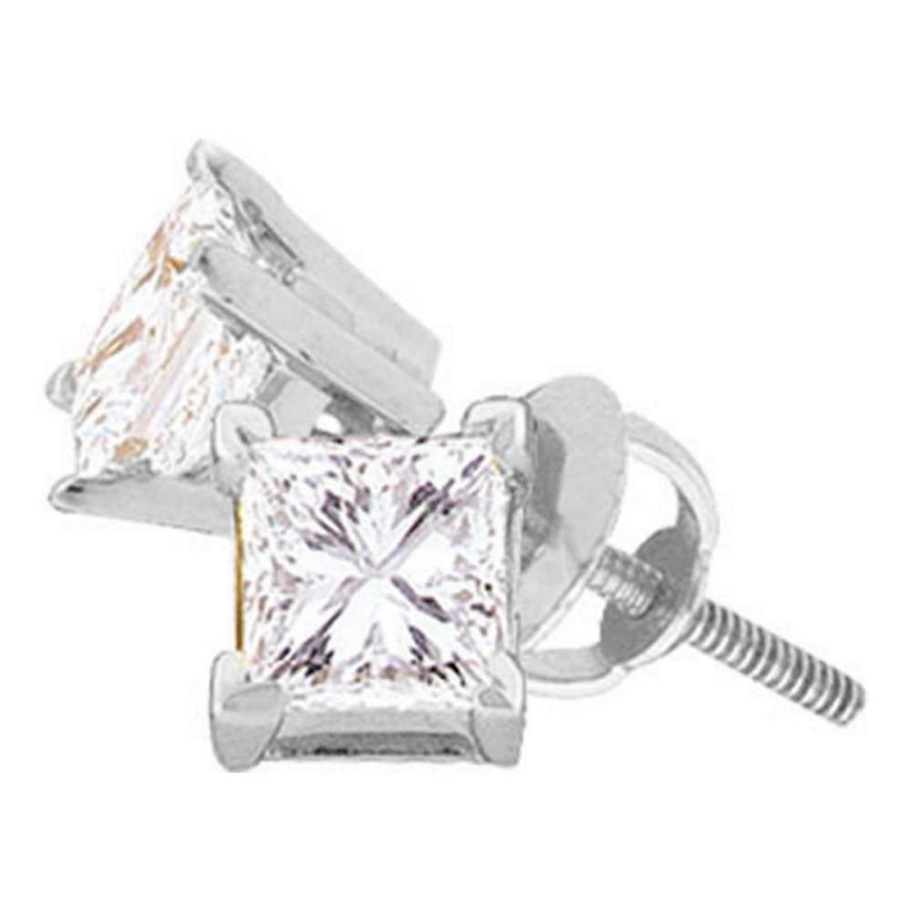 14kt White Gold Womens Princess Diamond Solitaire Stud Earrings 1/2 Cttw