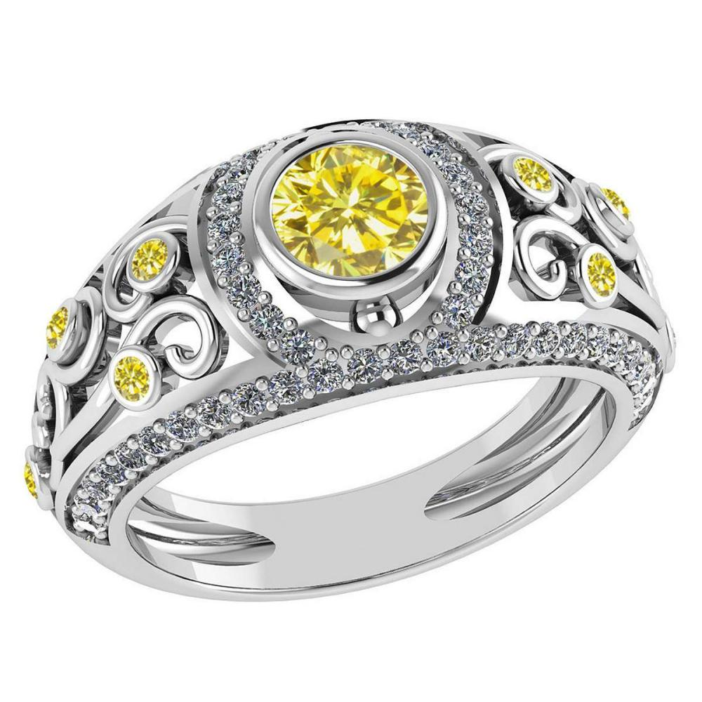 Certified 1.08 Ctw Fancy Yellow Diamond And G-H White Diamond Wedding/Engagement 14K White Gold Halo Ring G-H VS/SI1