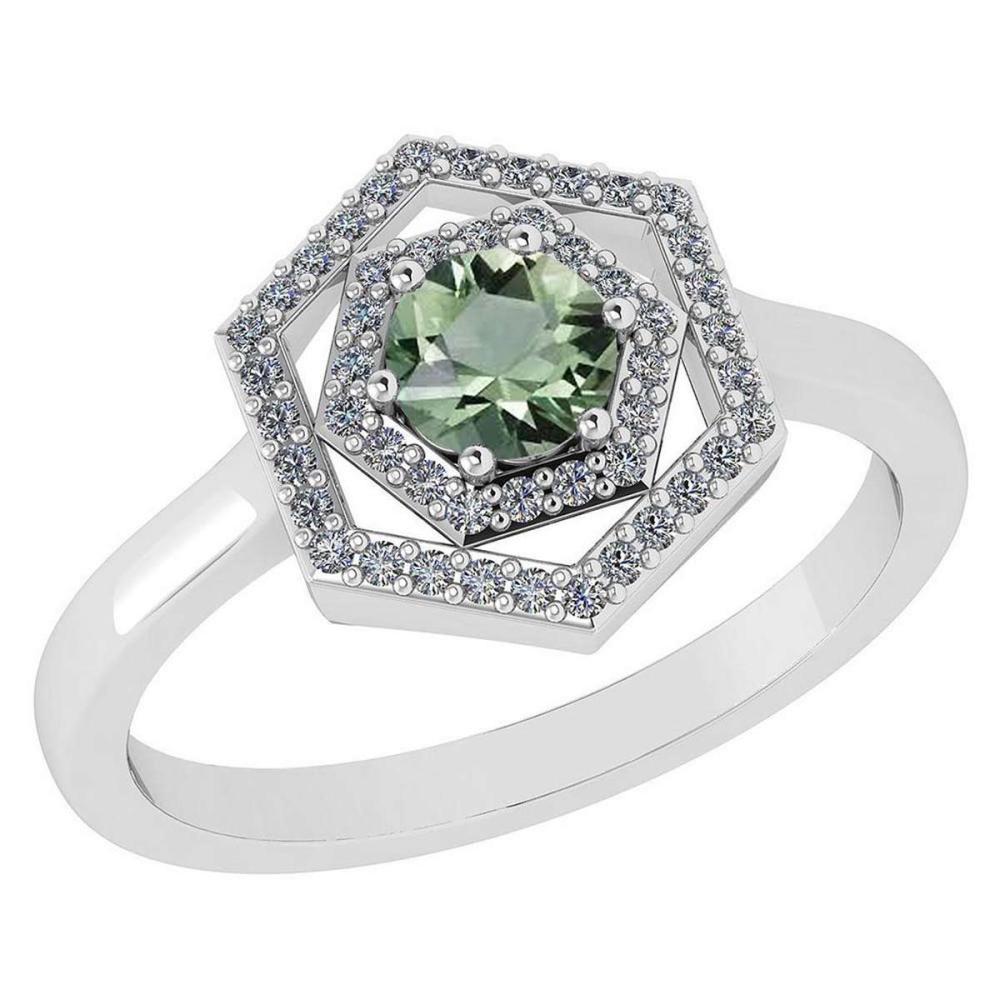Certified 0.69 Ctw Green Amethyst And Diamond Platinum Halo Ring
