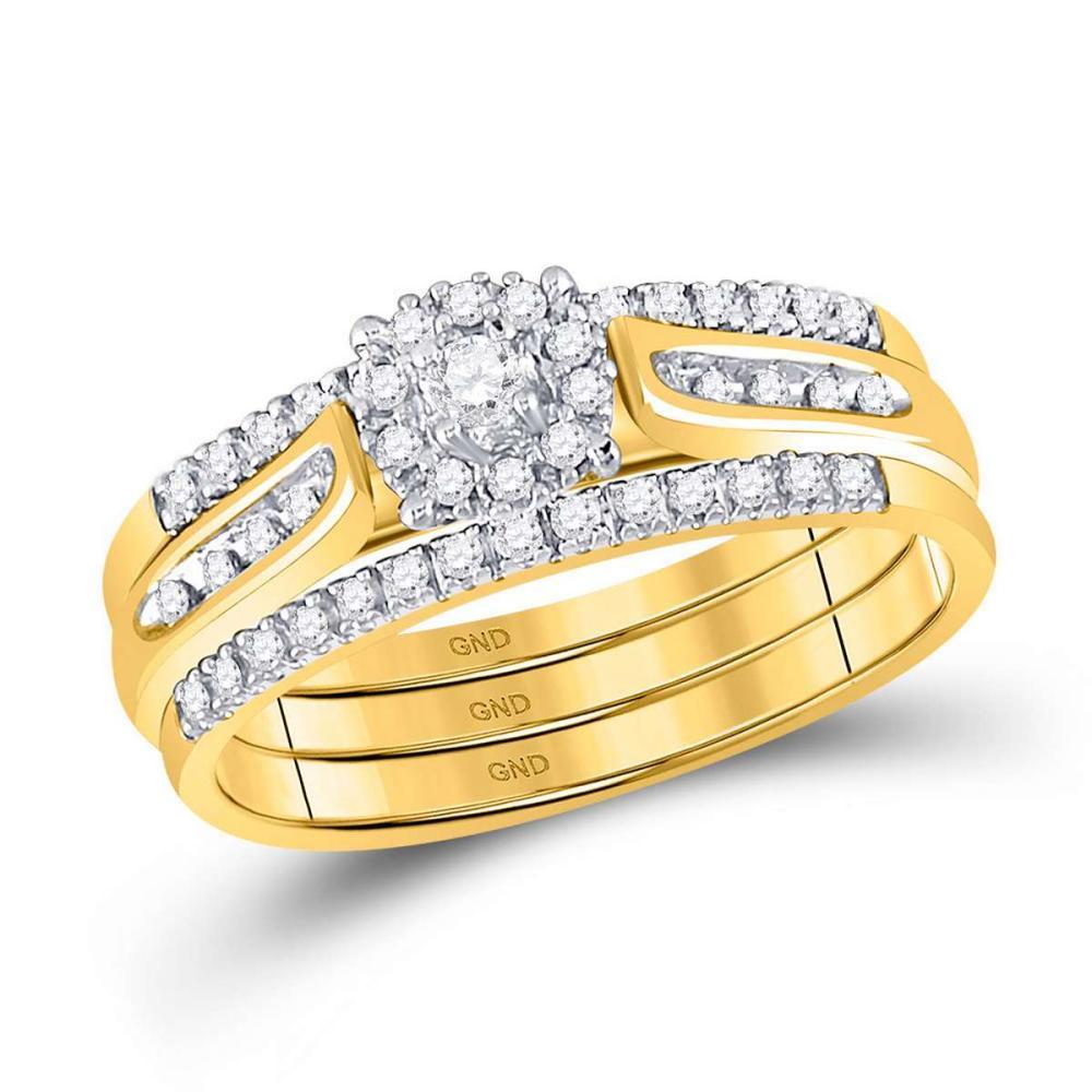 14k Yellow Gold Womens Round Diamond 3-Piece Bridal Wedding Engagement Ring Set