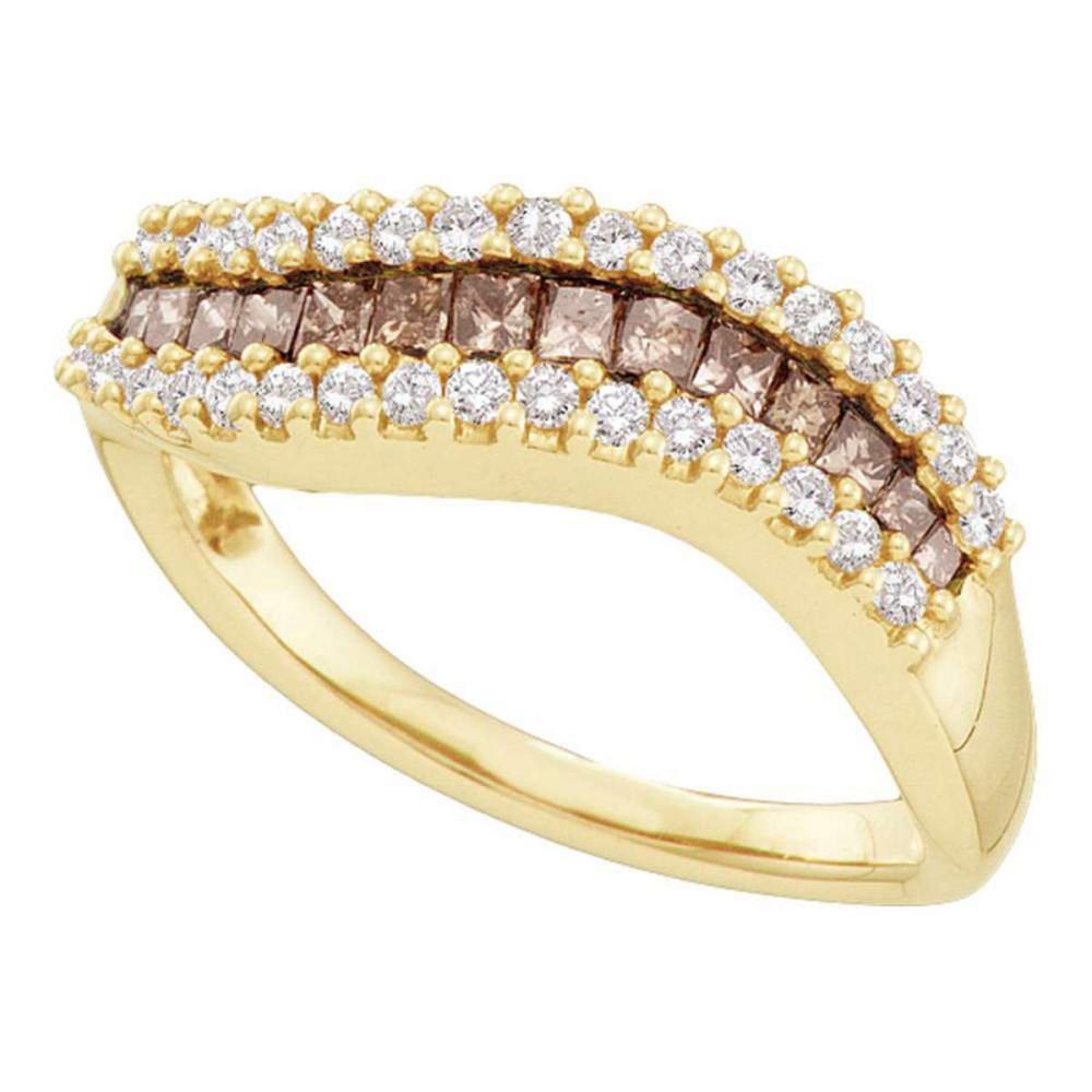 14k Yellow Gold Womens Princess Brown Color Enhanced Diamond Contoured Band