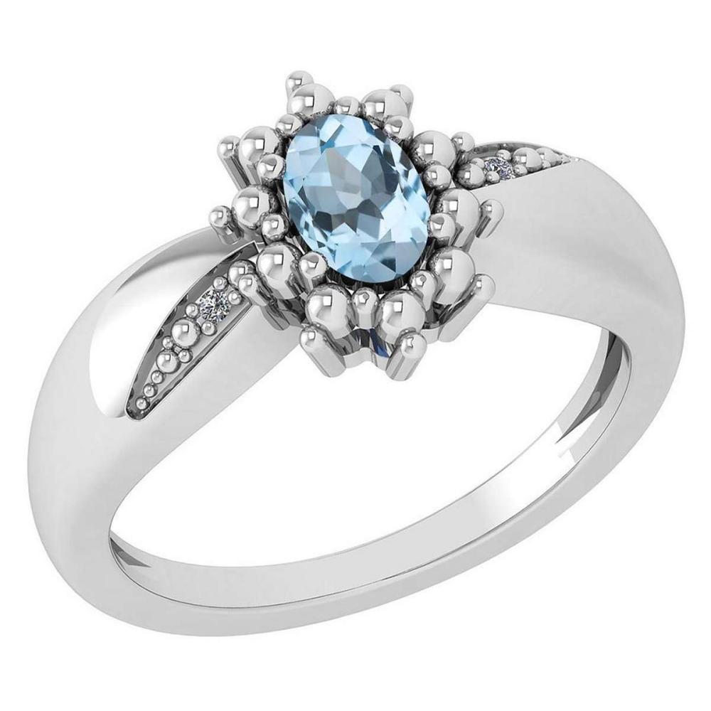 Certified 0.51 Ctw Aquamarine And Diamond 14k White Gold Halo Ring