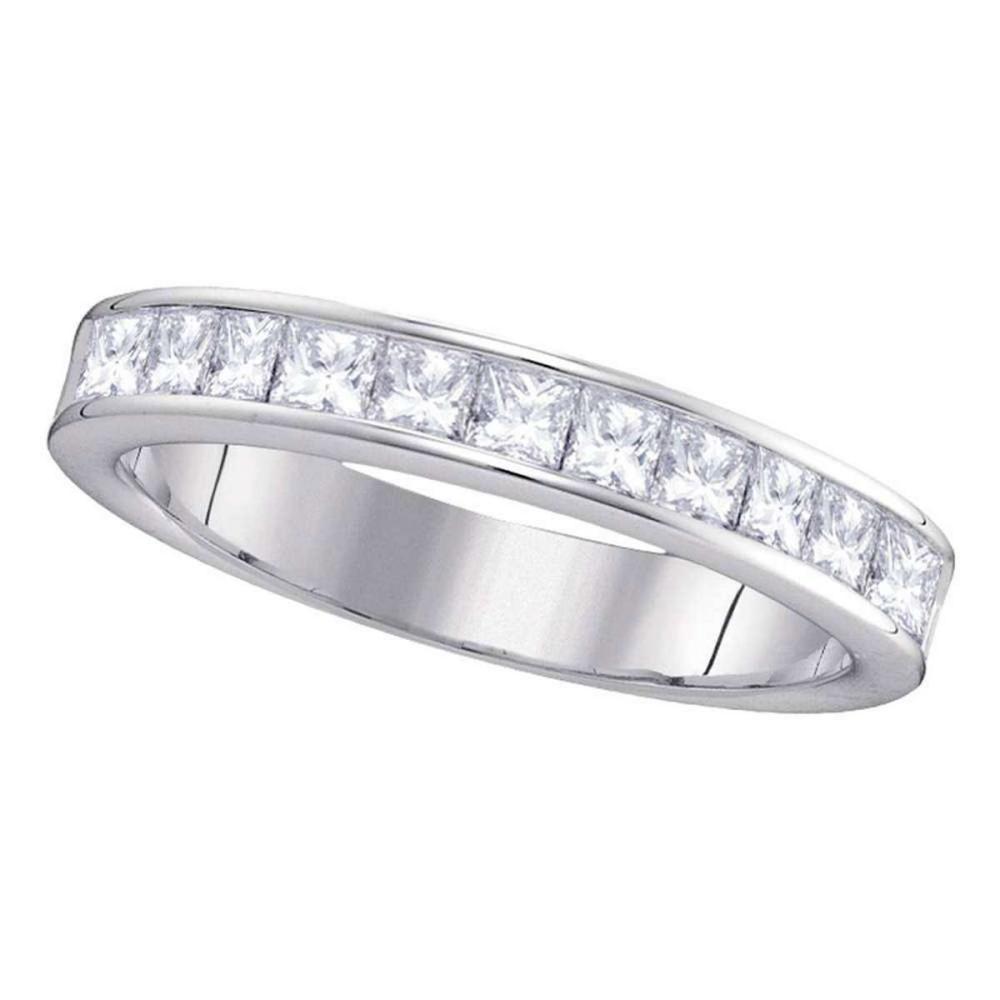 14k White Gold Womens Princess Channel-set Diamond 4.5mm Wedding Band 1.00 Cttw