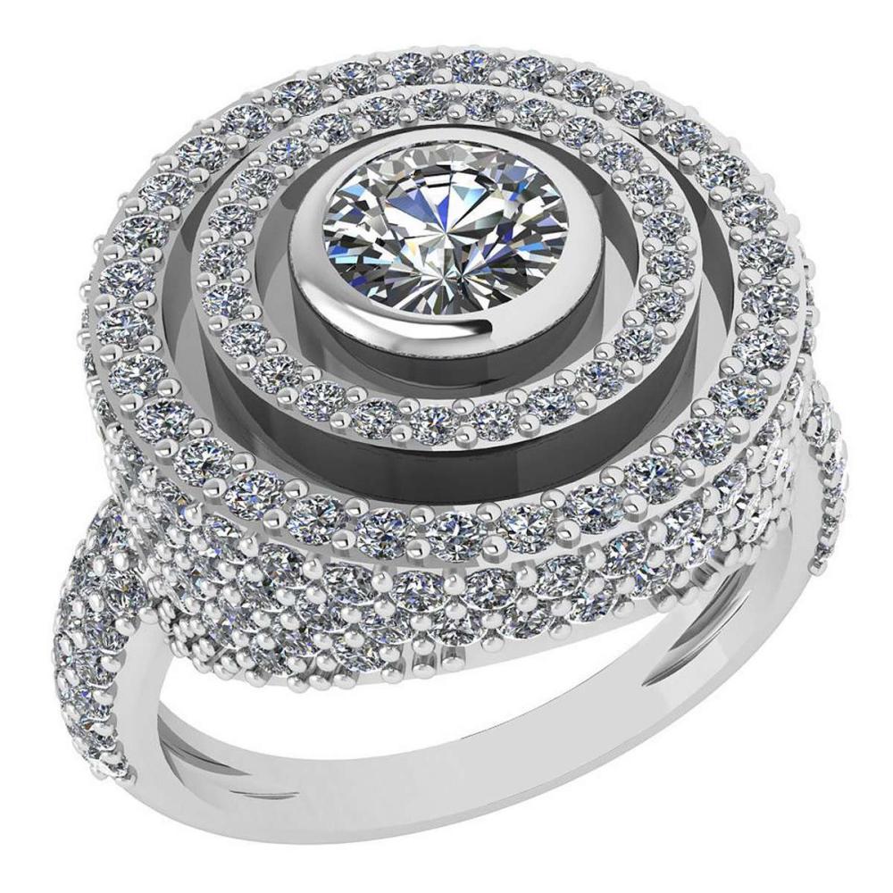 Certified 2.05 Ctw Diamond Wedding/Engagement 14K White Gold Halo Ring G-H VS/SI1