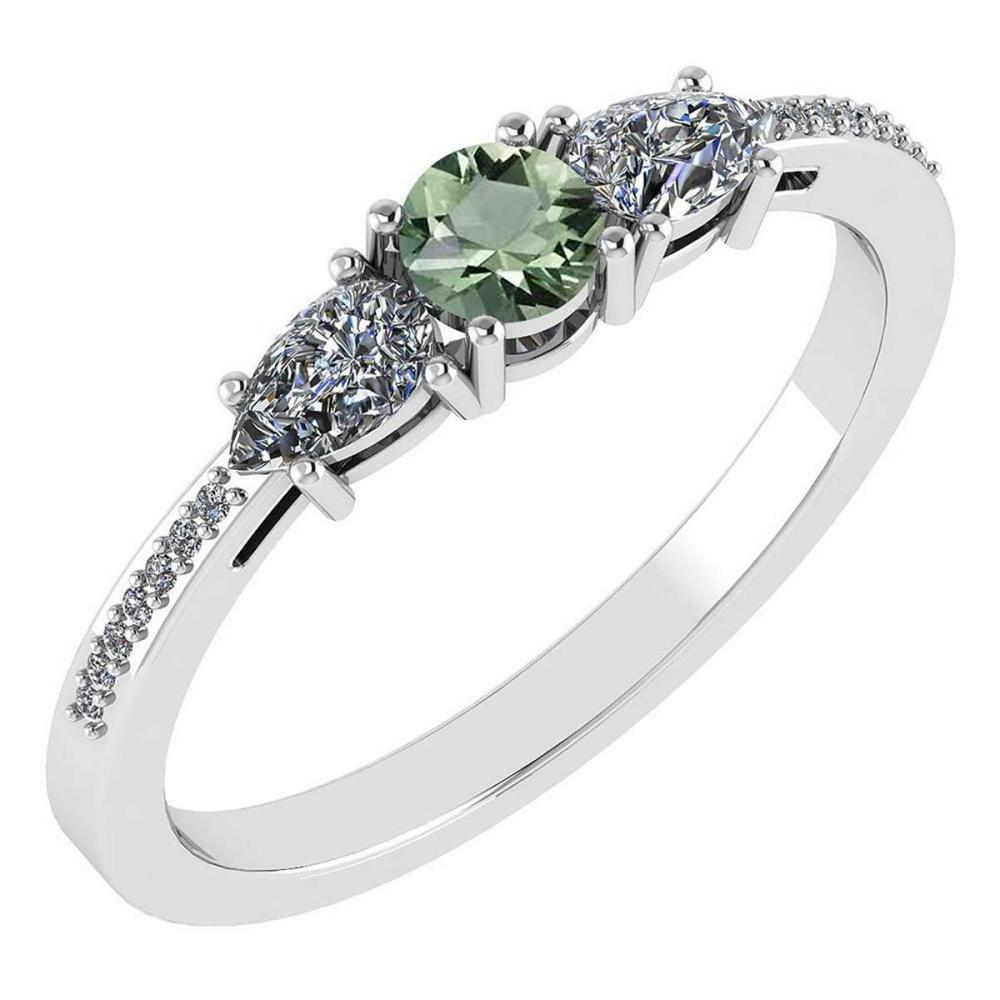 Certified 0.77 Ctw Green Amethyst And Diamond 18K White Gold Halo Ring G-H VSSI1