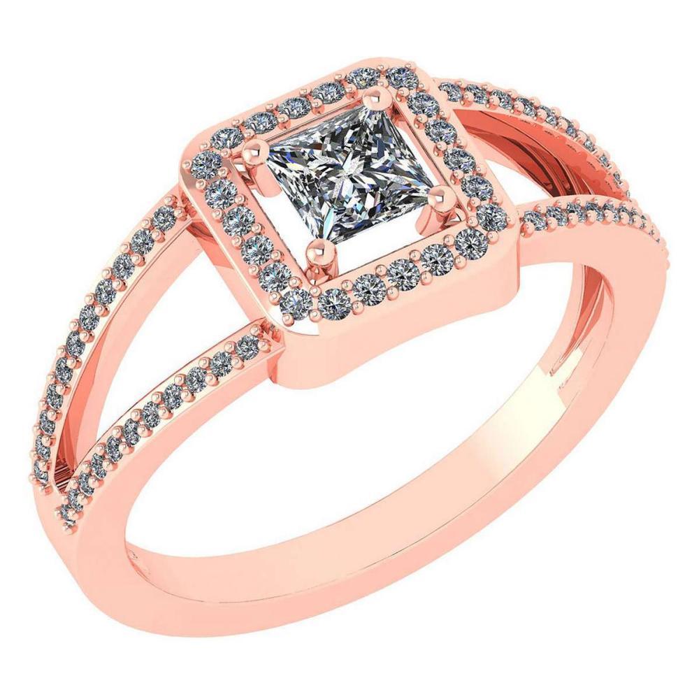 Certified 0.61 Ctw Diamond 18k Rose Halo Gold Ring