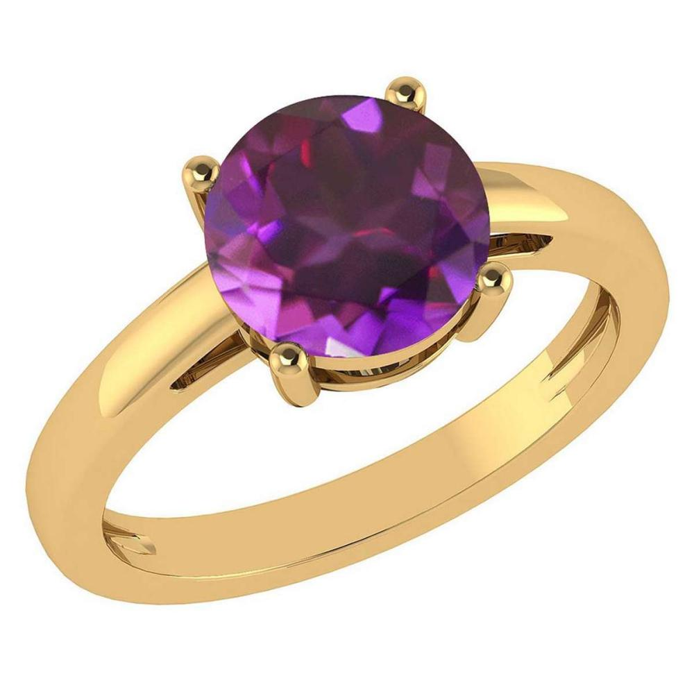 Certified 2.00Ctw Genuine Amethyst 14k Yellow Gold Halo Ring