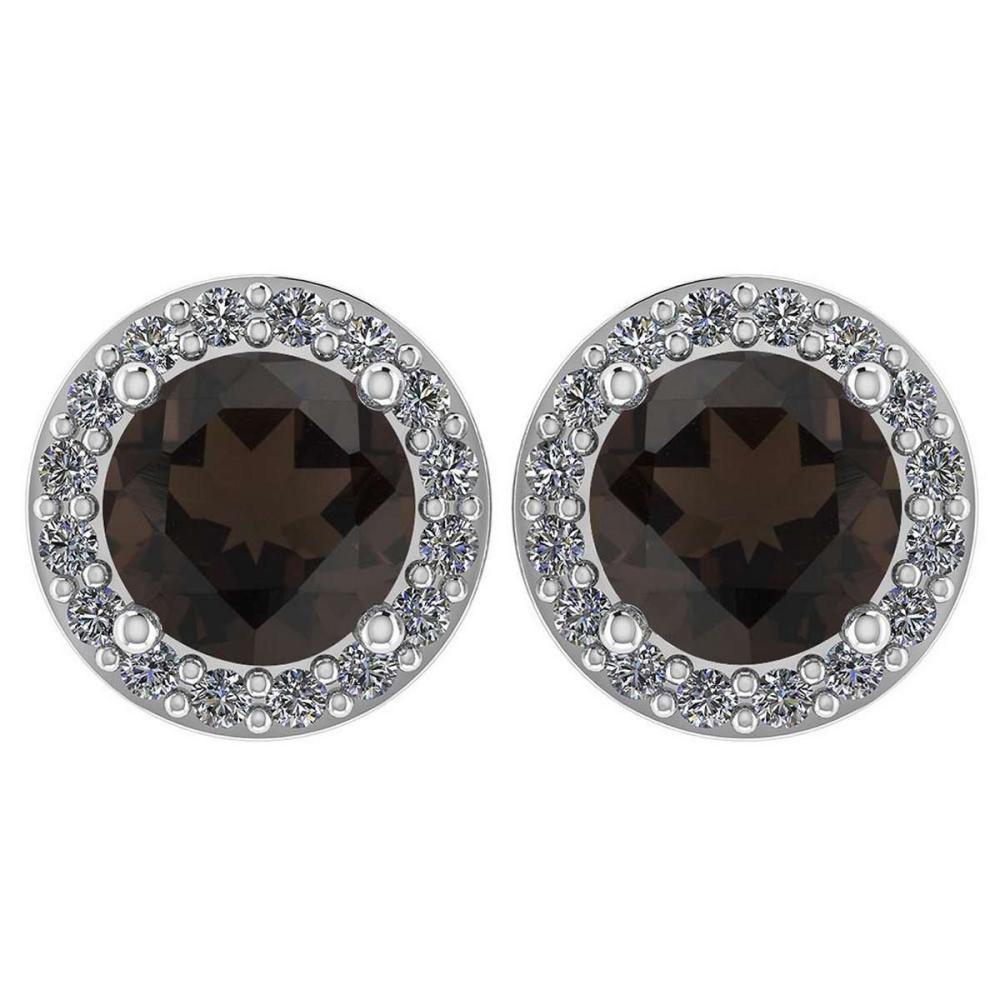 Certified 1.06 Ctw Smoky Quarzt And Diamond Platinum Halo Stud Earrings