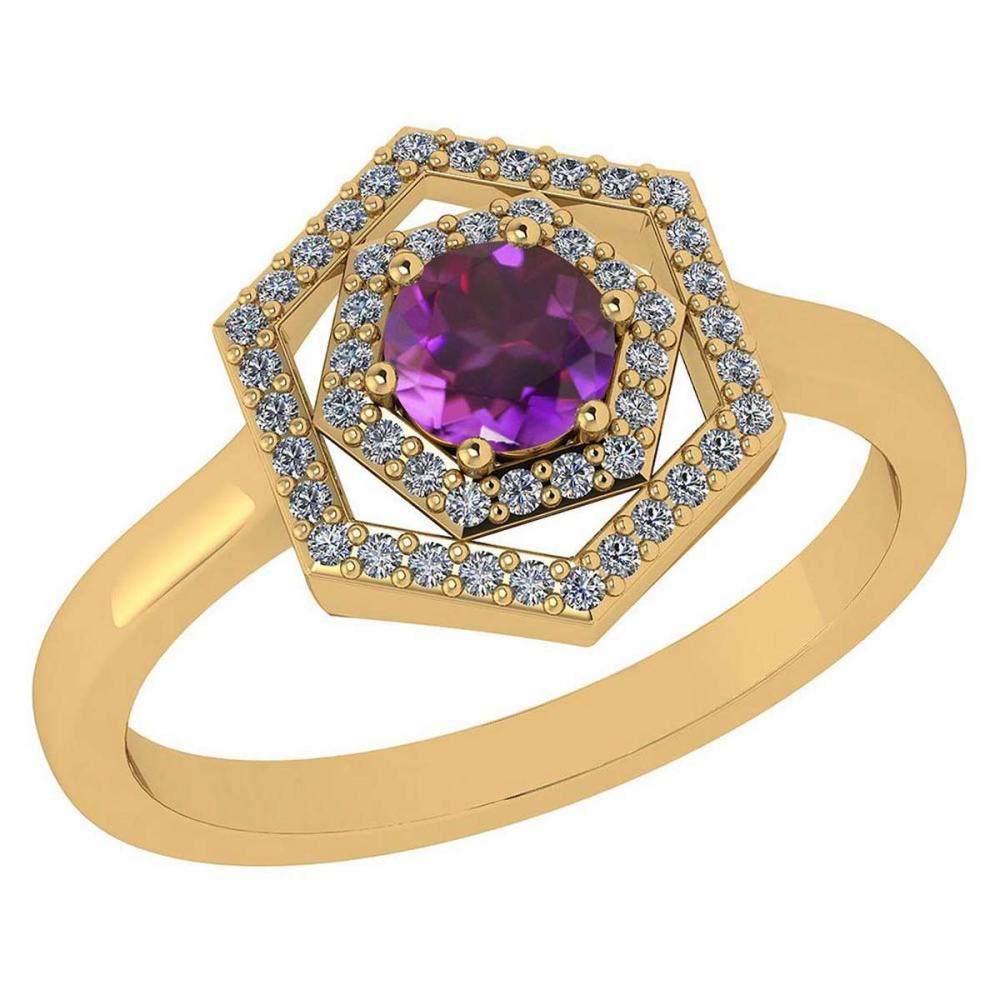 Certified 0.69 Ctw Amethyst And Diamond 14k Yellow Gold Halo Ring G-H VSSI1