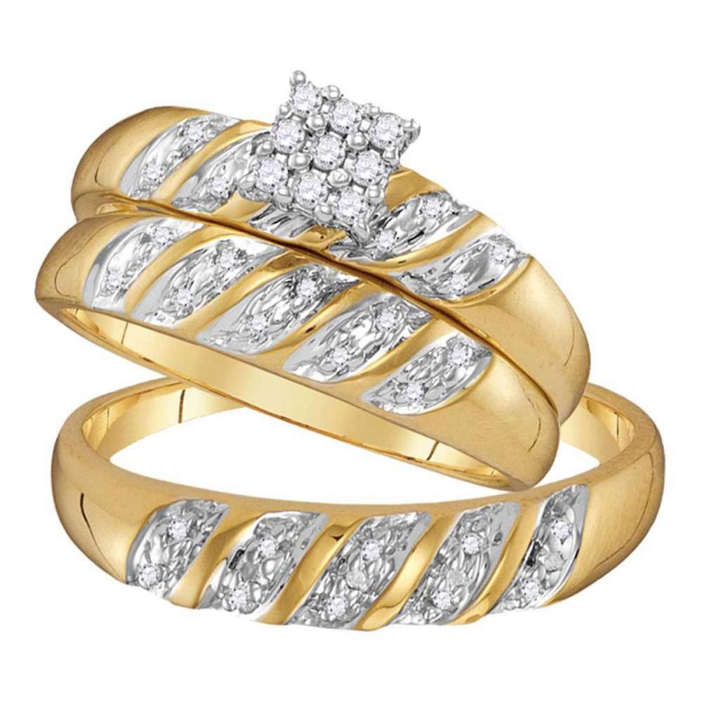 10k Yellow Gold His Hers Round Diamond Cluster Matching Bridal Wedding Ring Set