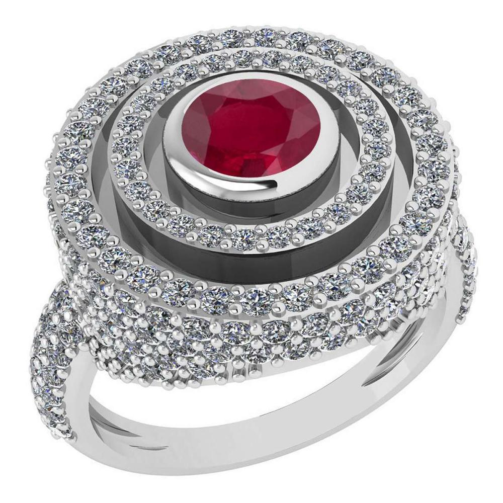 Certified 2.05Ctw Ruby And Diamond Wedding/Engagement 14K White Gold Halo Ring G-H VS/SI1