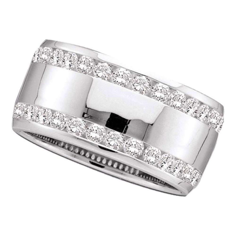 14k White Gold Womens Round Channel-set Diamond Double Row Wedding Band 1 Cttw
