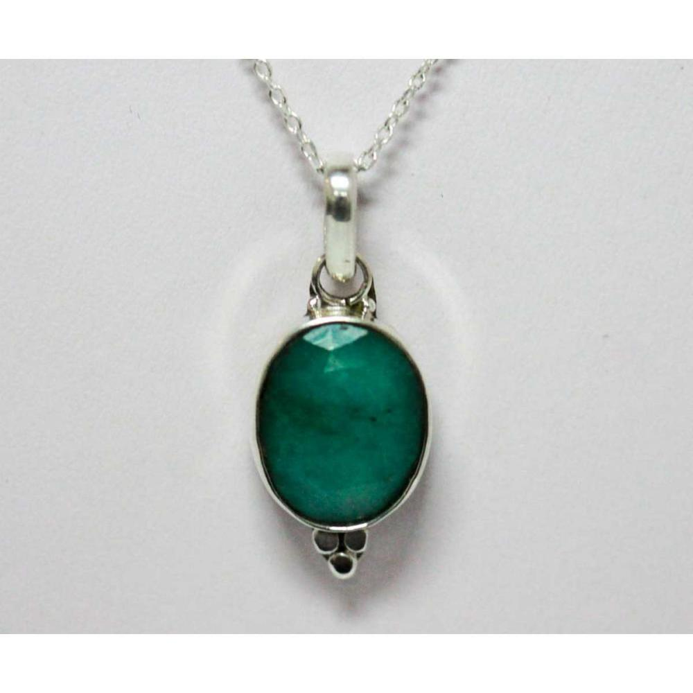 BEAUTIFUL SILVER PENDANT WITH GREEN EMERALD CTW 4.02