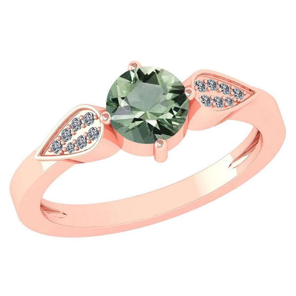 Certified 1.12 Ctw Green Amethyst And Diamond 14k Rose Gold Halo Ring VS/SI1