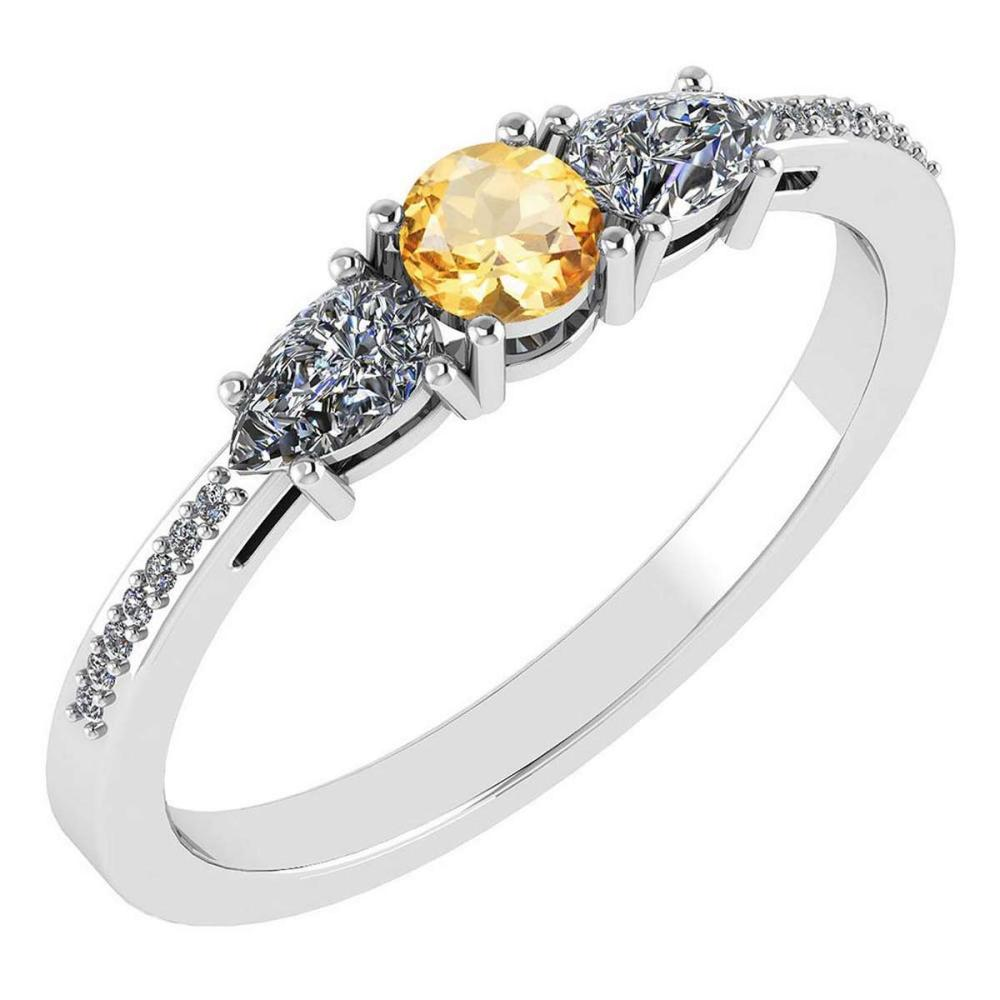 Certified 0.77 Ctw Citrine And Diamond 18K White Gold Halo Ring G-H VSSI1