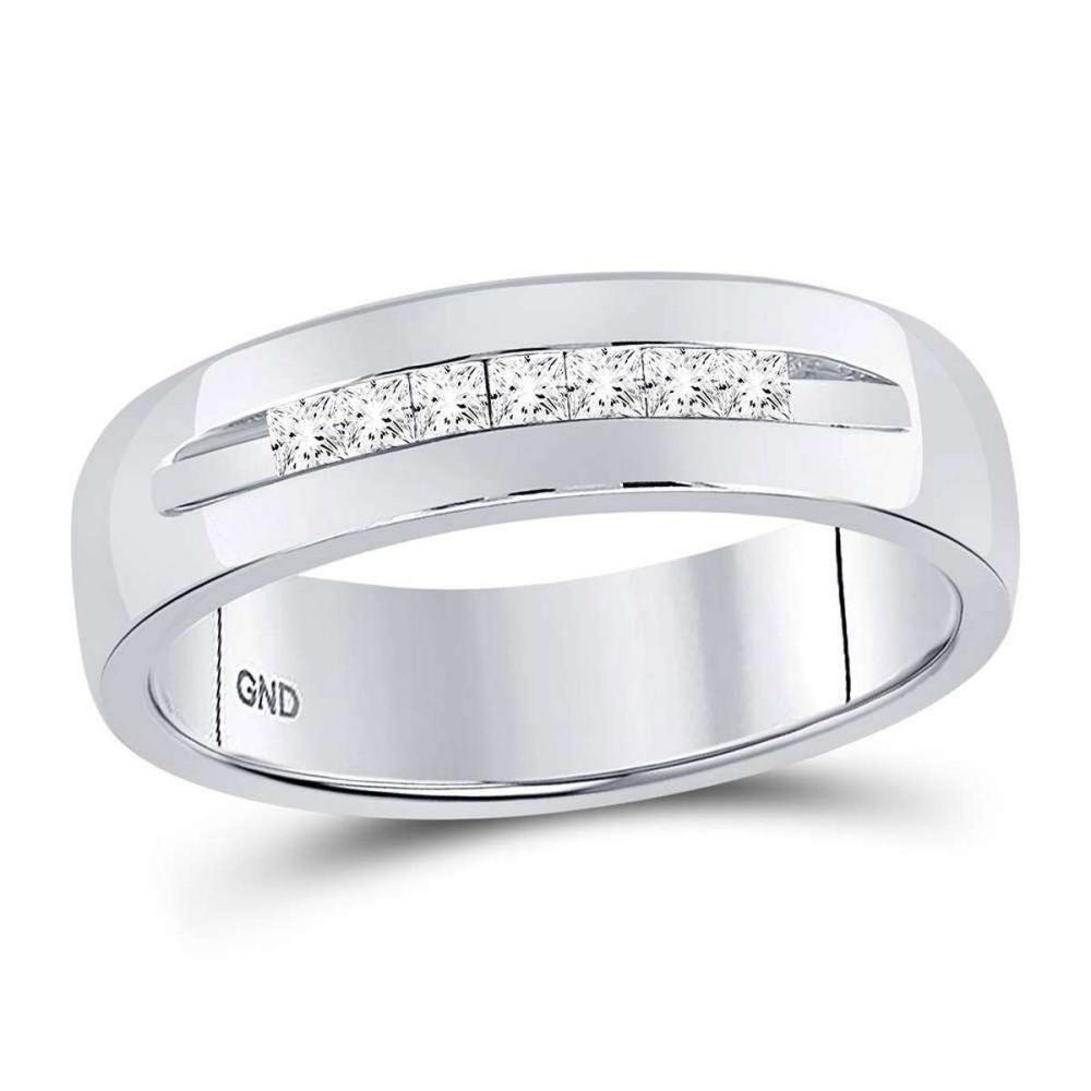 14k White Gold Mens Princess Channel-set Diamond Wedding Band Ring 1/4 Cttw