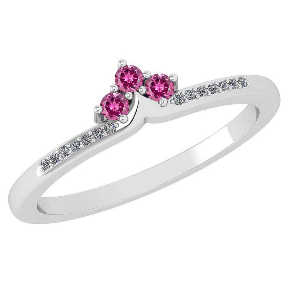 Certified 0.13 Ctw Pink Tourmaline And Diamond 14k White Gold Halo Ring VS/SI1