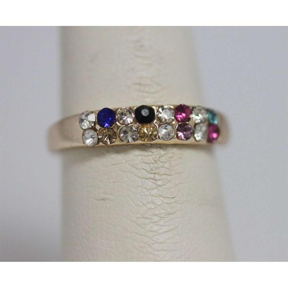 MULTICOLOR CZ GOLD PLATED BRASS RING