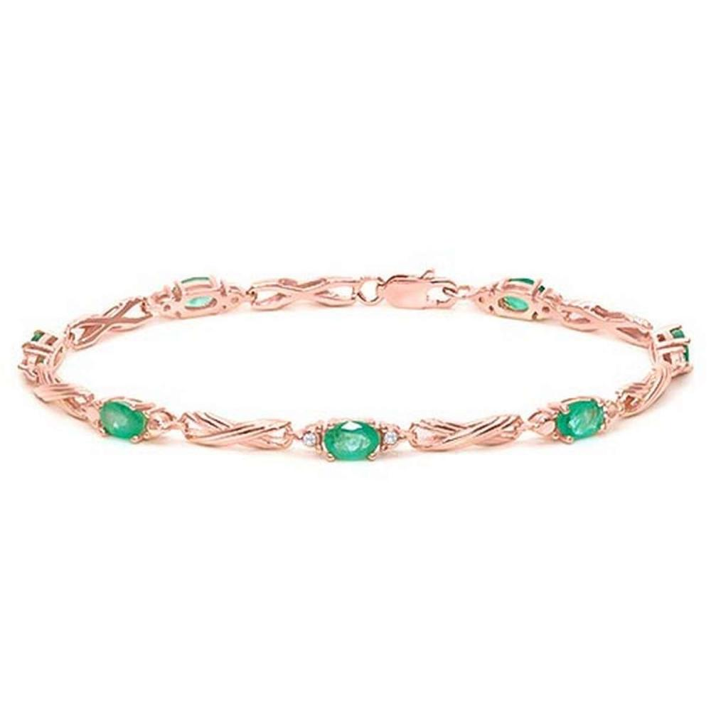 3.02 CTW EMERALD 925 STERLING SILVER RED GOLD PLATED BRACELETT
