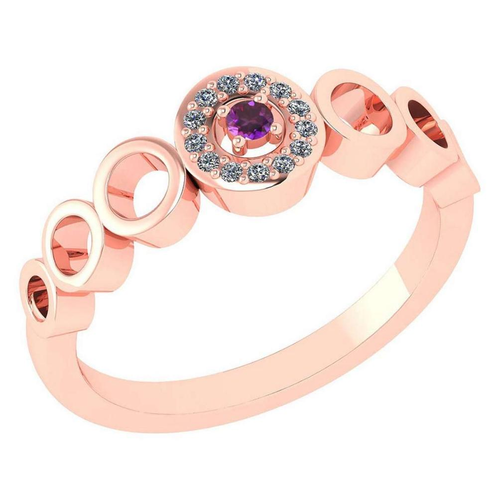 Certified 0.09 Ctw Amethyst And Diamond 14k Rose Gold Halo Ring G-H VS/SI1