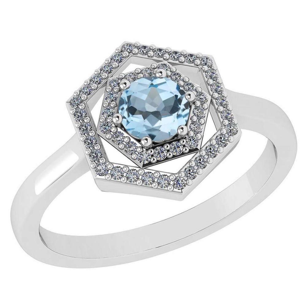 Certified 0.69 Ctw Aquamarine And Diamond Platinum Halo Ring