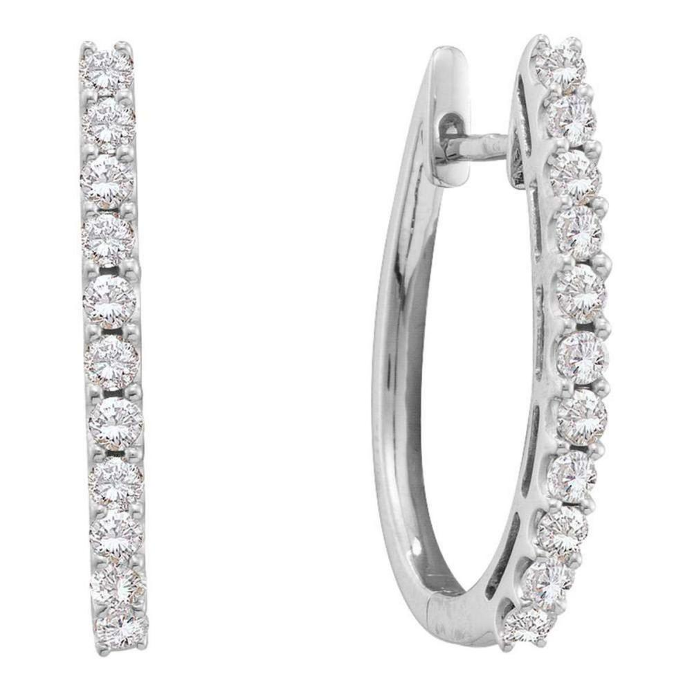 14k White Gold Womens Round Diamond Single Row Hoop Earrings 1.00 Cttw